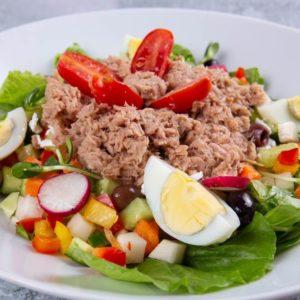 סלט ביקיני טונה חסה ירקות העונה ביצה ועגבניות שרי
